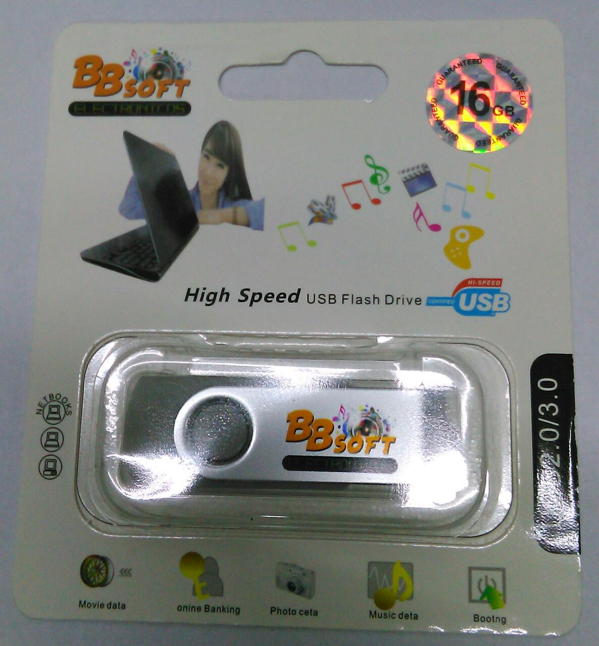 PENDRIVE 16GB GRIS USB 2.0/3.0 BBSOFT HIGH SPEED CON LUZ