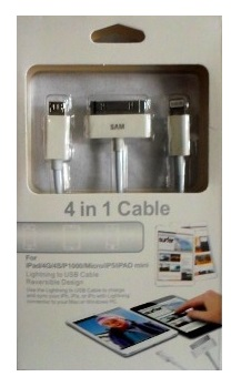 CABLE 3 EN 1 USB A V8 - IPHONE 4 - 5 SUELTO EN BOLSA
