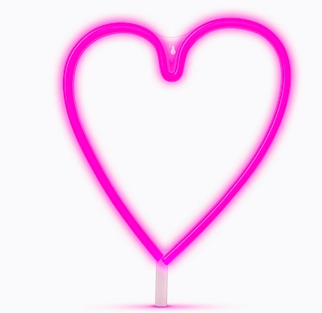 CORAZON DE NEON LED A PILAS O USB